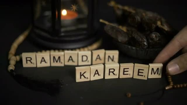 Ramadan Kareem Greeting Wooden Letters: Stock Video