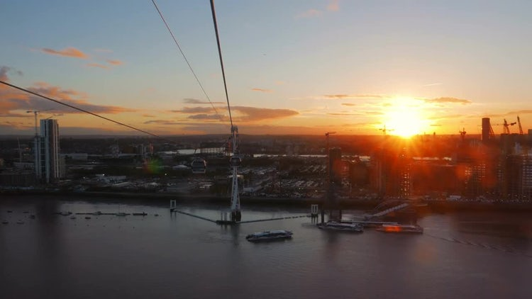 Aerial View of The Sunset On The Thames: Stock Video