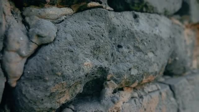 Close-up Of Old Ruined Wall : Stock Video