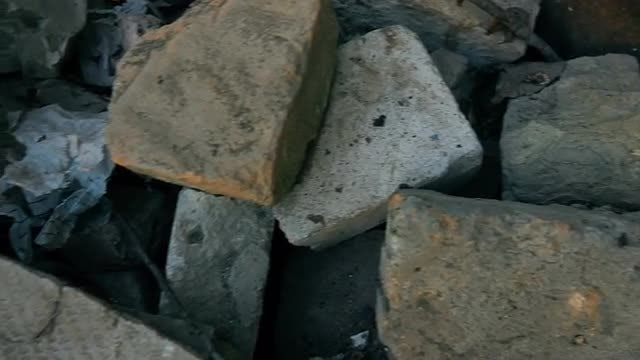 Close Up Shot Of Construction Rubble: Stock Video