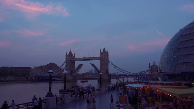 Twilight By Thames In London: Stock Video