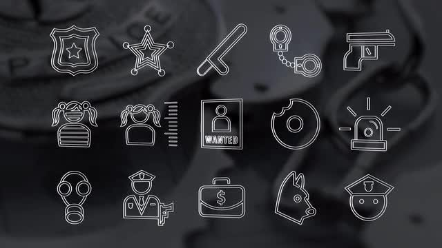 45 Police Icons Pack: Stock Motion Graphics