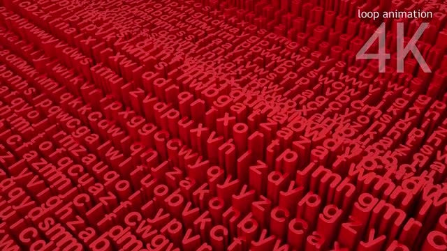 Red Letters Background Loop: Stock Motion Graphics