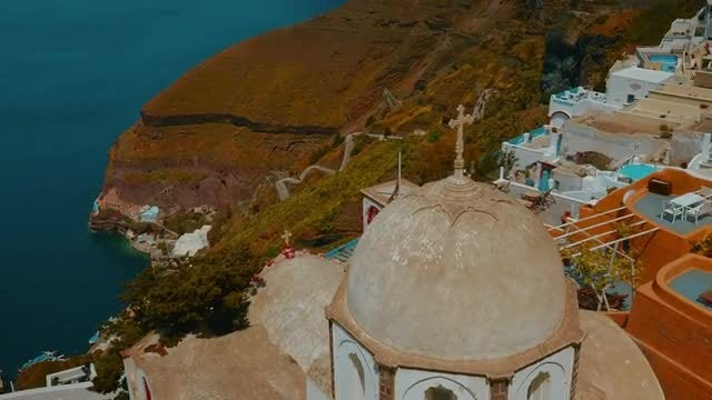 Panoramic Shot Of Fira, Santorini: Stock Video