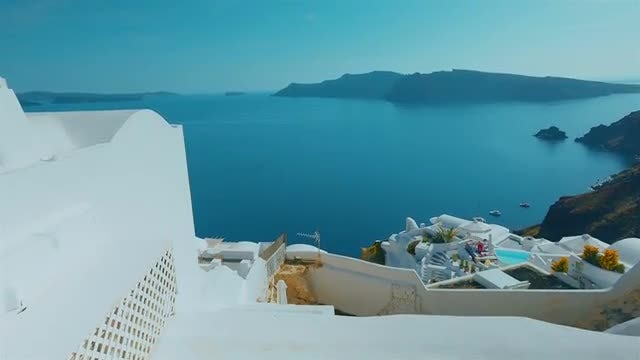Establishing Shot Of Santorini Island : Stock Video