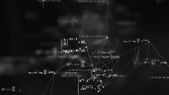 Plexus With Mathematical Formulas: Stock Motion Graphics