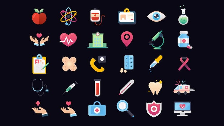 30 Medicine and Healthcare Icons Vol.1: After Effects Templates