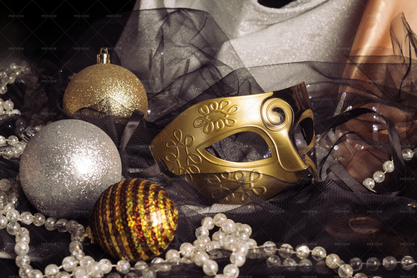 Christmas Ornaments And Carnival Mask: Stock Photos