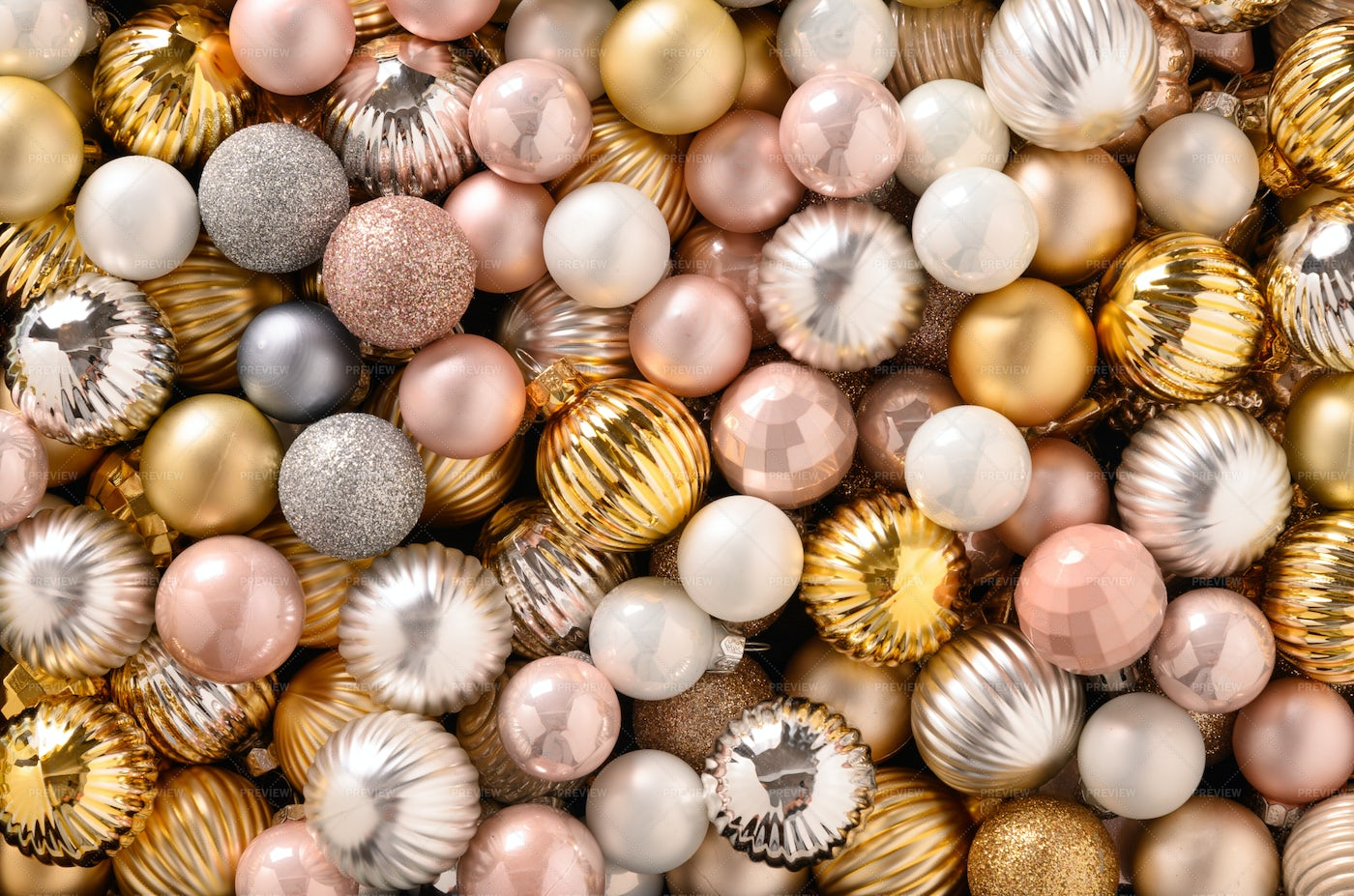 Gold And Pink Christmas Ornaments: Stock Photos