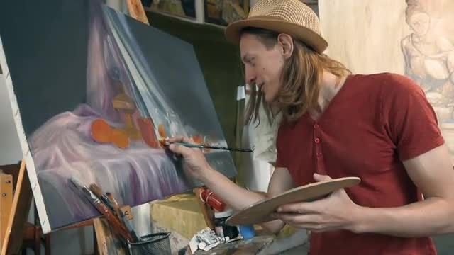 Happy Fine Artist Painting: Stock Video