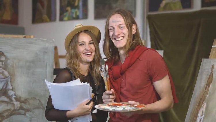 Happy Fine Artists In Studio: Stock Video