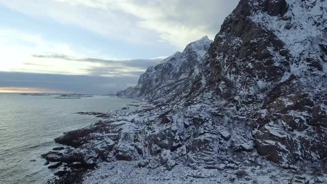 Snowy Archipelago In Norway: Stock Video