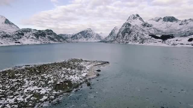 Norwegian Archipelago In Winter: Stock Video
