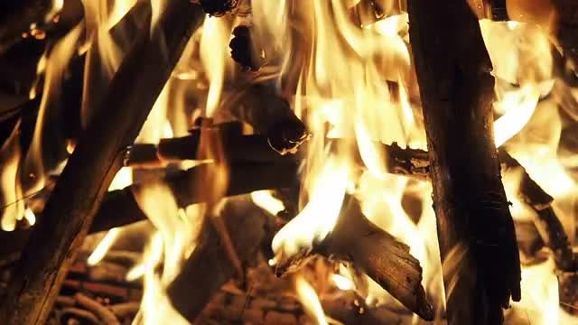 Campfire Burning In Slow Motion: Stock Video