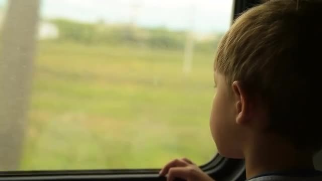 Little Boy On Train Trip : Stock Video