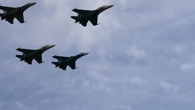 Four Fighter Jets Flying: Stock Video
