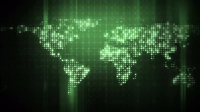 Glittering Green World Map: Stock Motion Graphics