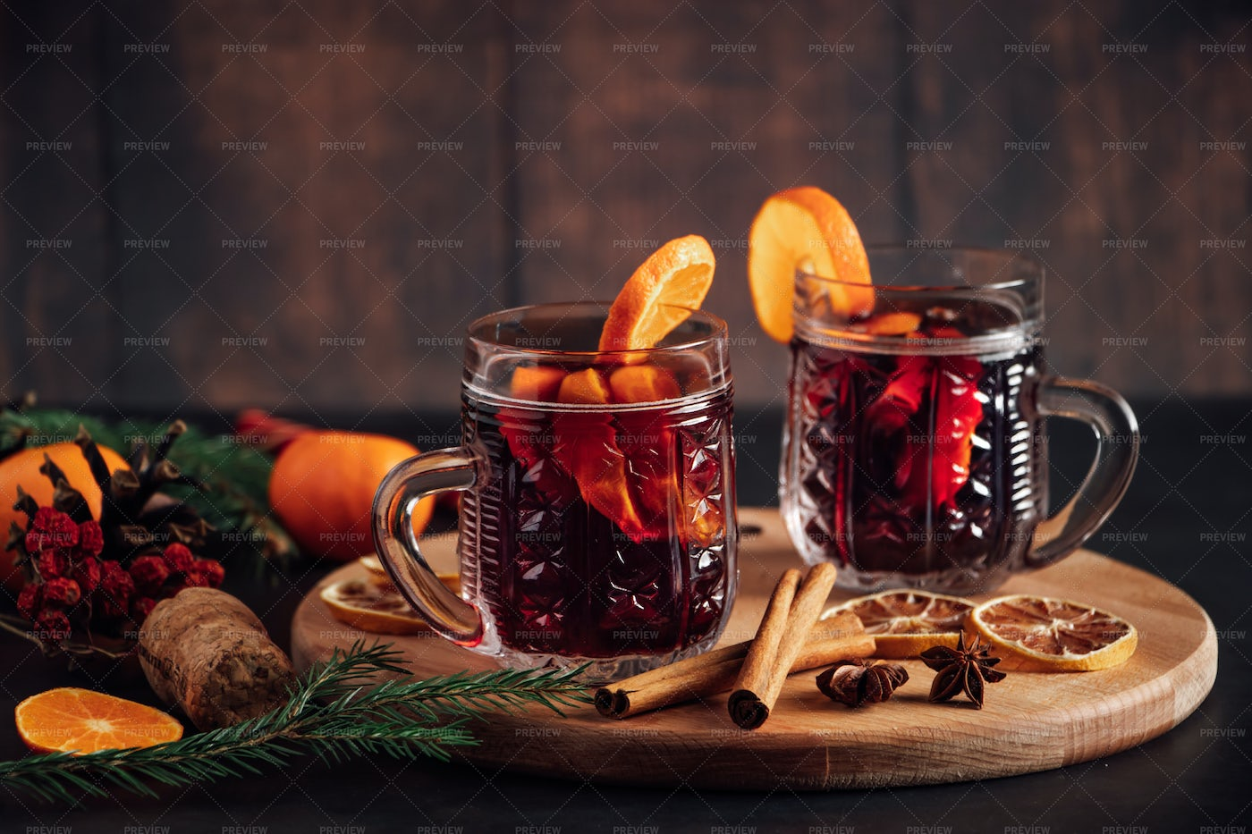Hot Mulled Wine In Glass Cup: Stock Photos