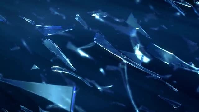 Shards Of Glass Moving On Blue Background: Stock Motion Graphics