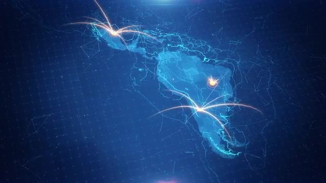 Latin America Map Connections: Stock Motion Graphics