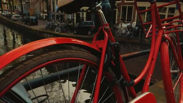 Bicycle Parked On Canal Bridge : Stock Video