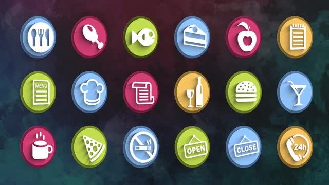Ultimate Restaurant Icons Pack: Stock Motion Graphics