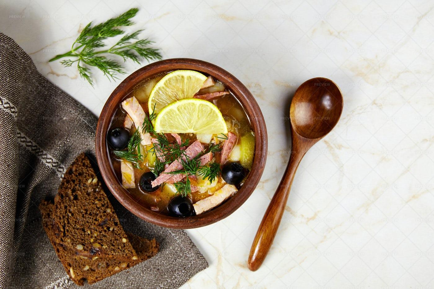 Traditional Russian Soup Solyanka: Stock Photos
