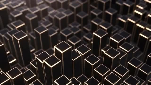 Black And Gold Prism Background 4K: Stock Motion Graphics