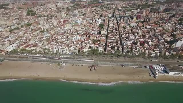 Aerial Shot Of Coastal Barcelona: Stock Video