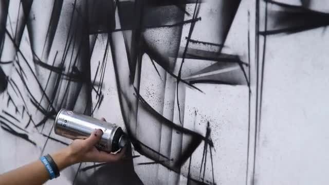 Male Street Artist Making Graffiti: Stock Video