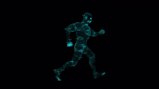 Holographic Data Running Man Loop: Stock Motion Graphics