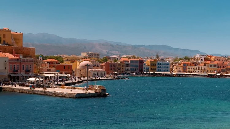 Chania Promenade, Crete, Greece: Stock Video