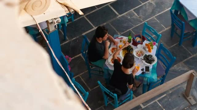 Couple Enjoying Mediterranean Meal: Stock Video