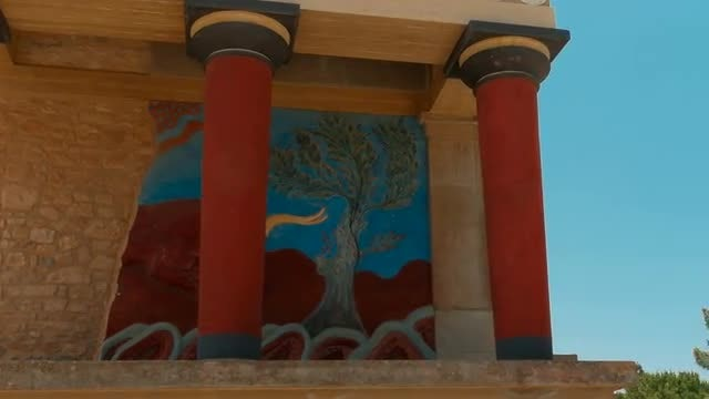 Charging Bull Fresco At Palace Of Knossos, Greece: Stock Video