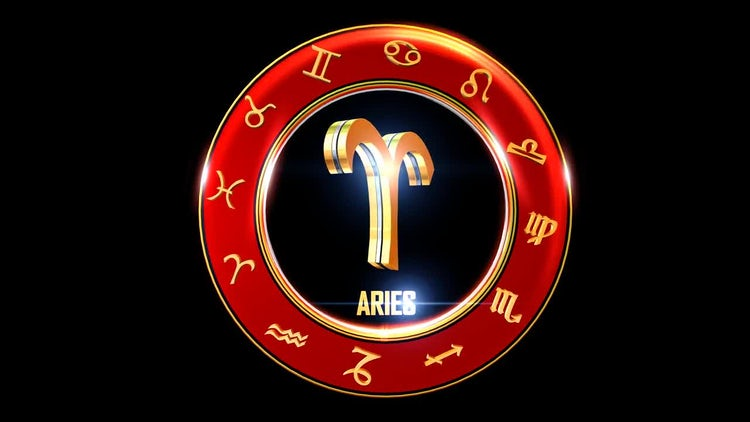 Rotating Aries With Western Zodiac Symbols Stock Motion Graphics