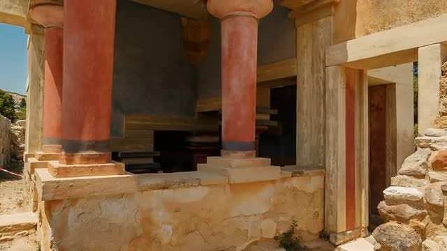 Minoan Temple at Palace of Knossos, Greece: Stock Video
