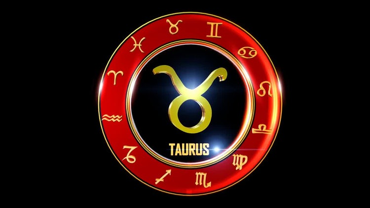 Rotating Taurus With Western Zodiac Symbols Stock Motion Graphics