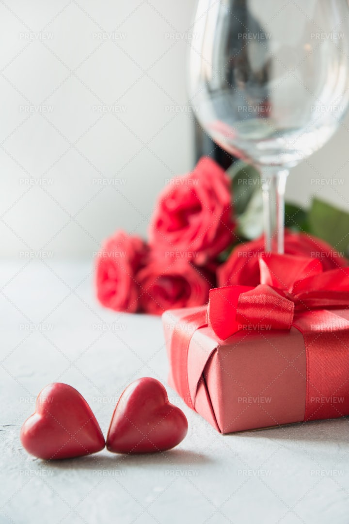 Gift With Sweets And Wine: Stock Photos