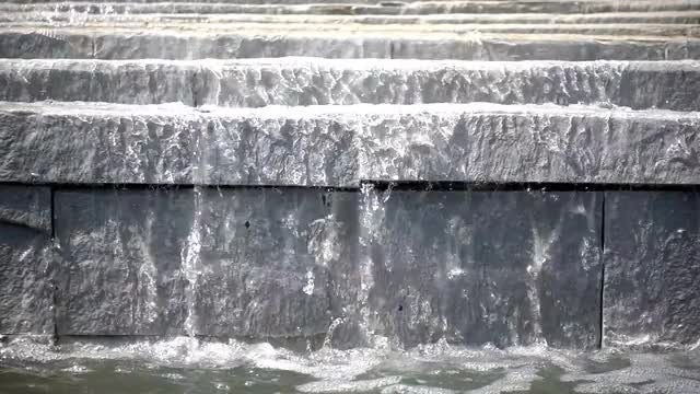 Water Flowing On Concrete Staircase: Stock Video