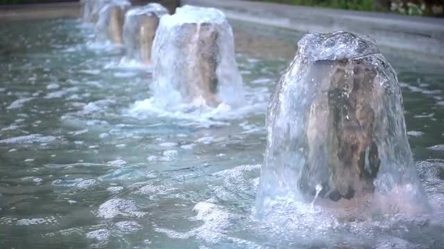 Large Water Pool With Fountains: Stock Video
