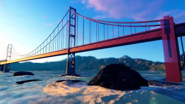Golden Gate Bridge Fly By: Stock Motion Graphics