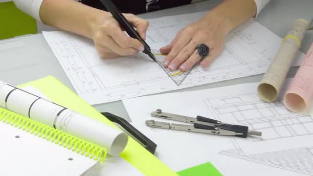 Architect Drawing At Work: Stock Video