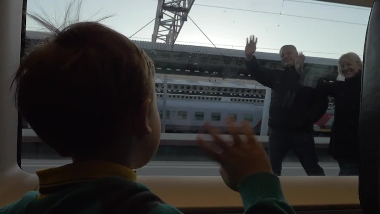 Child Waving His Grandparents Goodbye: Stock Video
