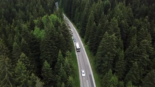 Aerial Shot Of Moving Vehicles: Stock Video