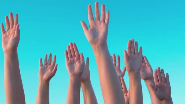 People Lifting Their Hands Up : Stock Video