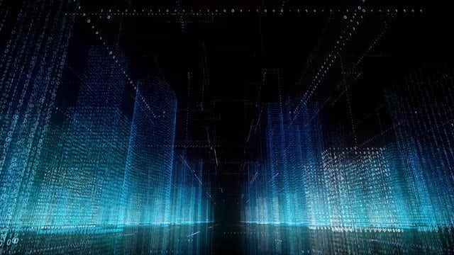 Binary Wireframe City: Stock Motion Graphics