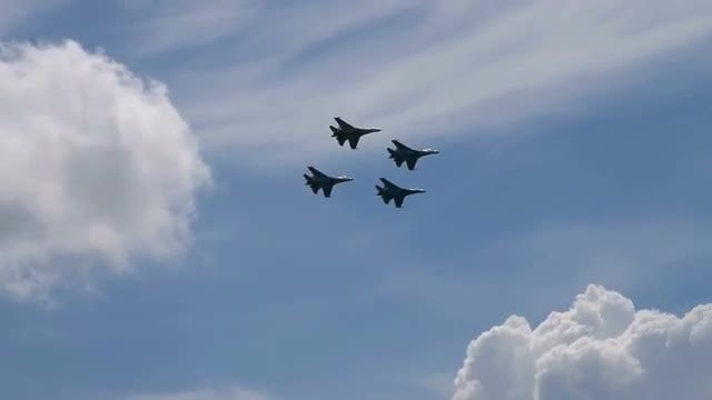 Four Fighter Jets Performing Aerobatics : Stock Video