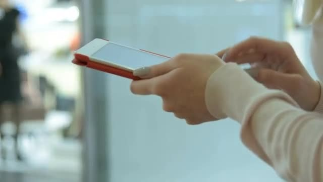 Woman Using Tablet In Mall: Stock Video