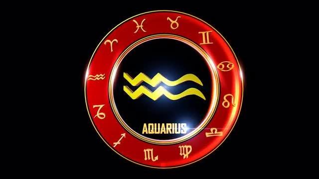 Aquarius Western Zodiac Symbol: Stock Motion Graphics