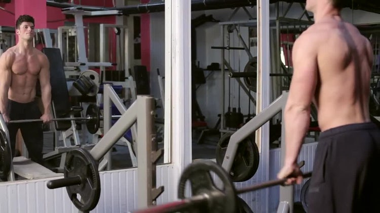 Young Male Bodybuilder Lifting Weights: Stock Video